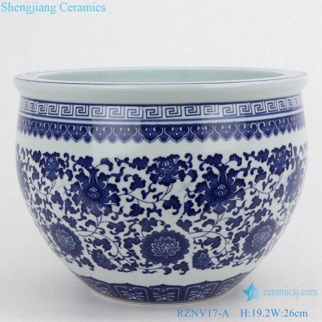 Ceramic tanck traditional lotus pattern front view