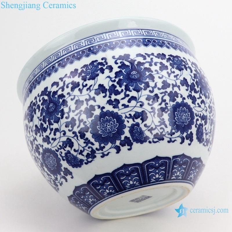 Ceramic tanck traditional lotus pattern side view