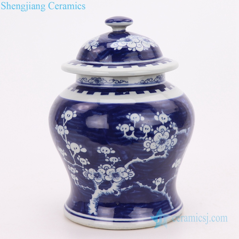 antique beautiful blue and white jar front view