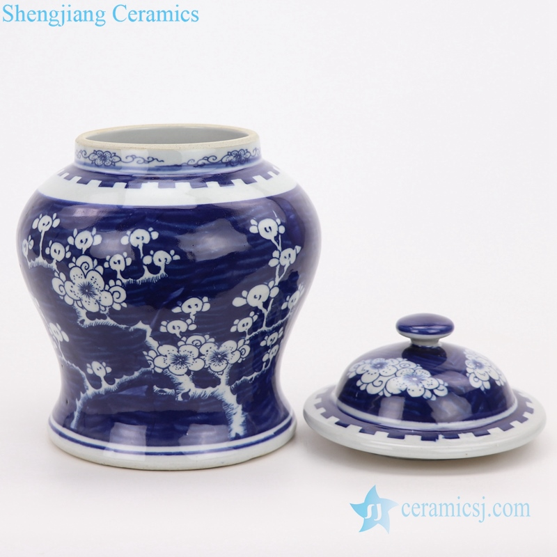 antique beautiful blue and white jar detail