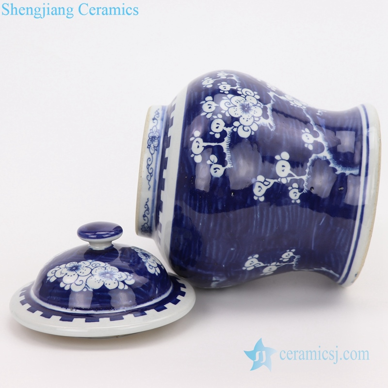 antique beautiful blue and white jar side view