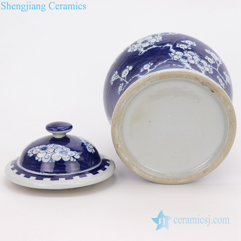 antique beautiful blue and white jar bottom view