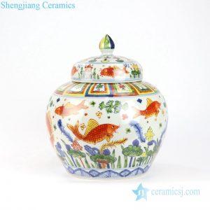 Beautiful enamel fish and grass ceramic tank front veiw