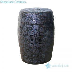 Dark Chinese exquisite relief design ceramic stool