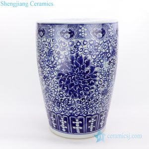 Jingdezhen drum hand painted ceramic stool front view