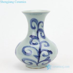 Old style round ceramic small vase front view