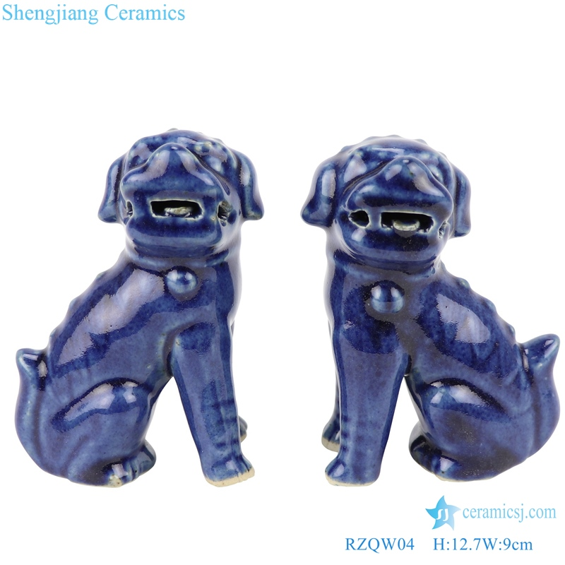 Deep blue poodle siting pattern statue front view