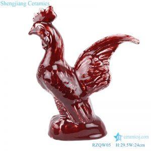 chinese style cock statue red glaze front view