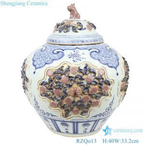 ancient blue and white storage pot front view