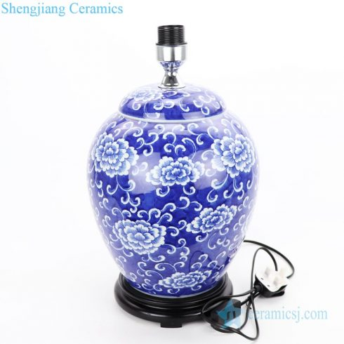 blue background ceramic lamp