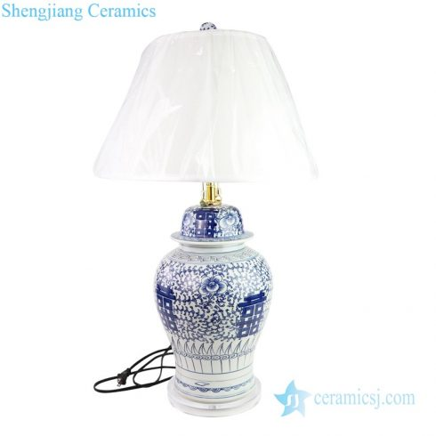 Traditional hand-painted ceramic lamp front view