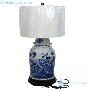 Antique flower and bird lamp shade front view