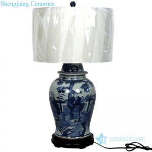 Figure pattern archaized porcelain lamp front view