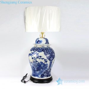 Blue and white hand-painted lamp shade front view