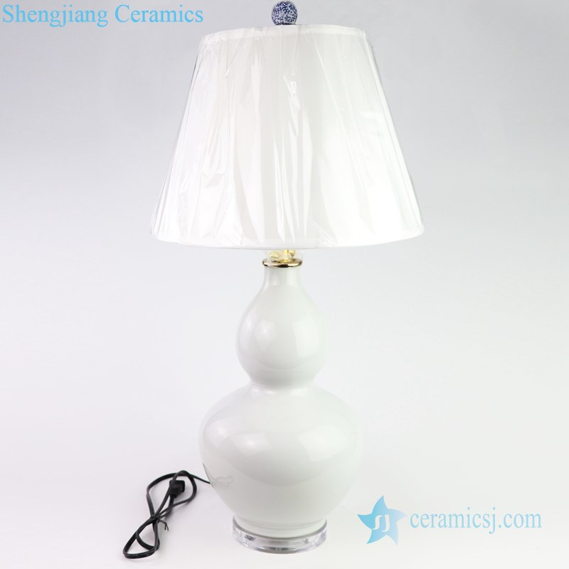 Gourd shape white ceramic lamp front view