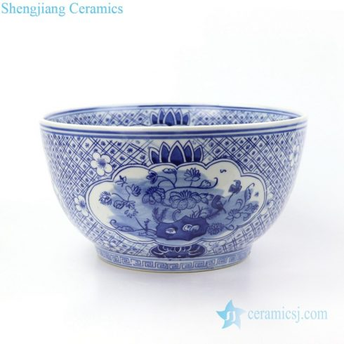 Chinese style blue and white fish bowl front view