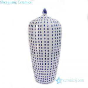 blue and white wax gourd jar