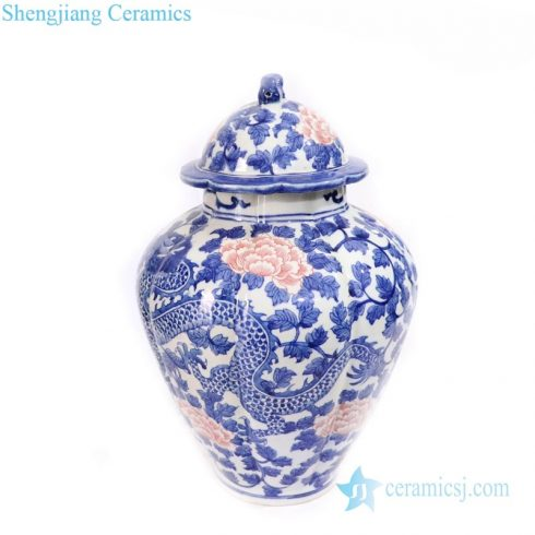multicolored ceramic jar with lid