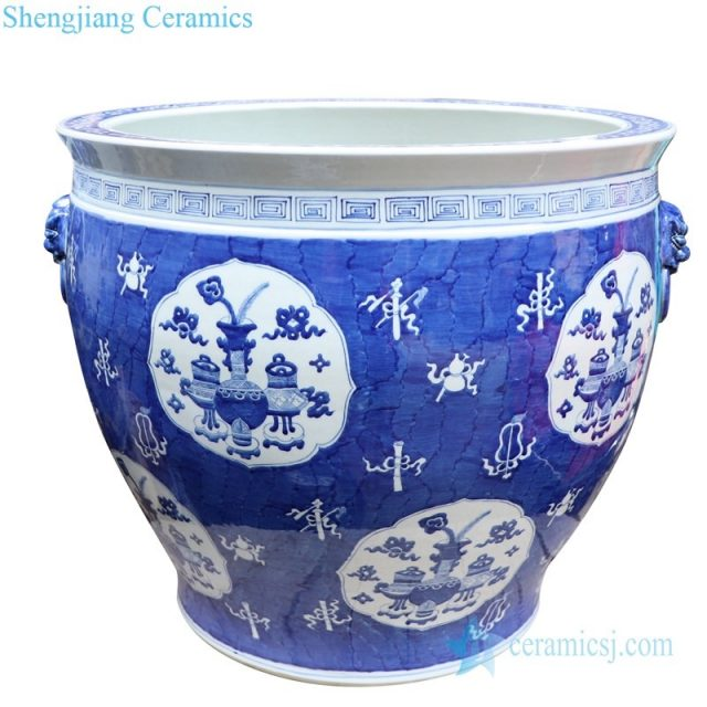 artistic blue and white ceramic jar