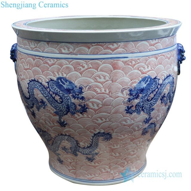 hand drawing ceramic jar with two handles