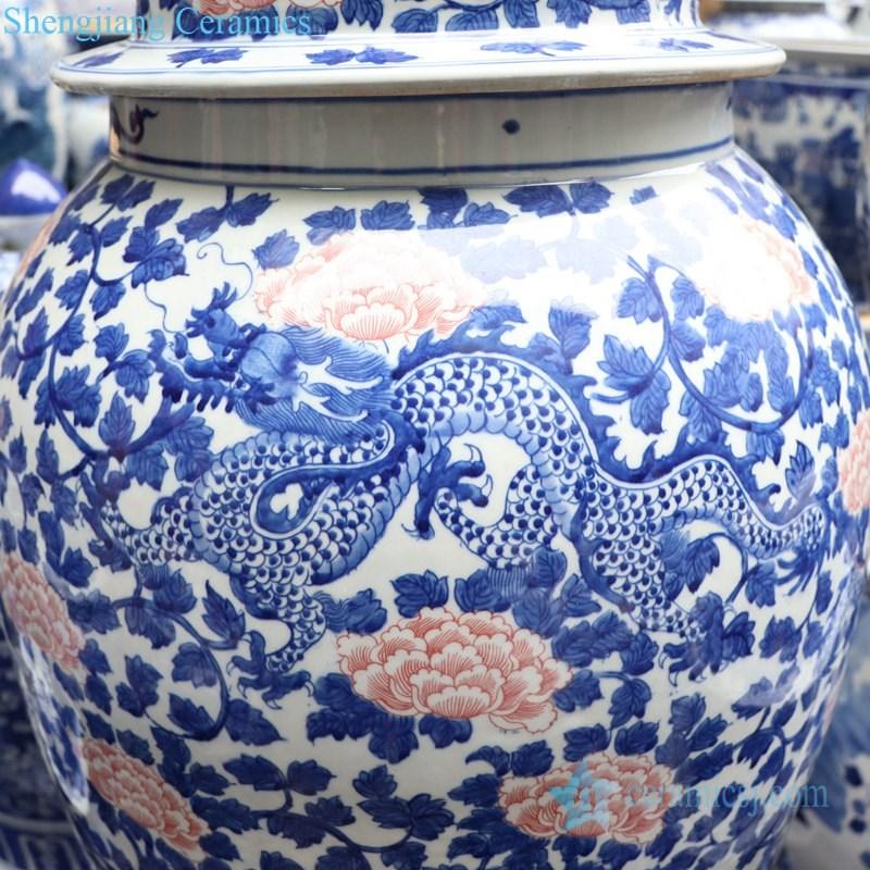 unique underglaze red ceramic jar