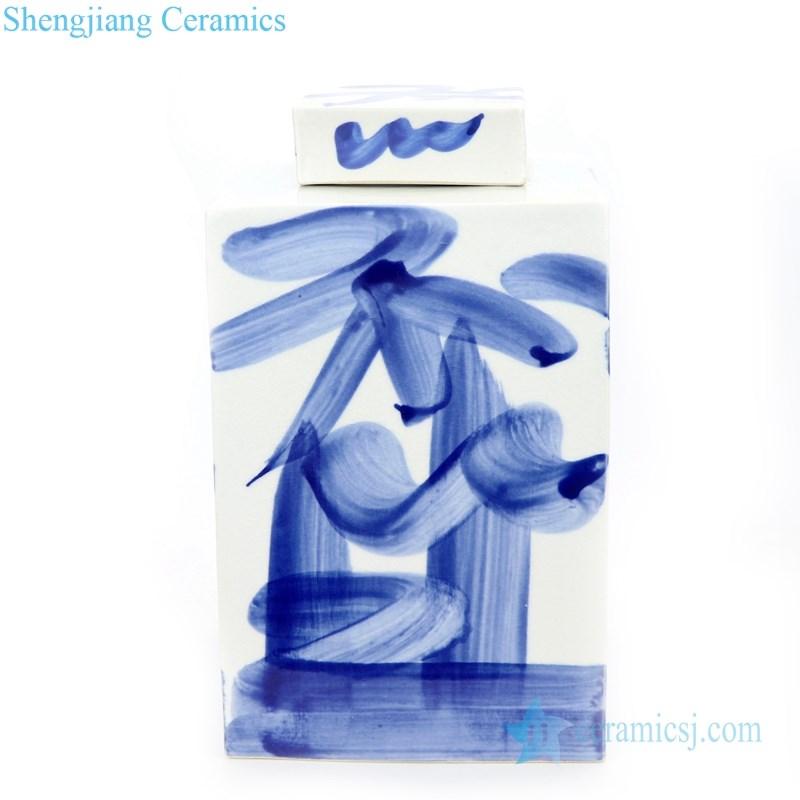 hand painted simple pattern ceramic tea jar