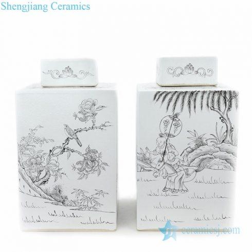quadrate ceramic tea jar