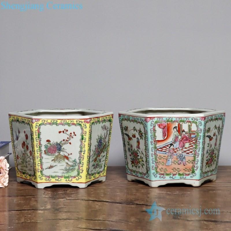 antique polychrome ceramic flower pot