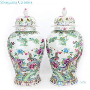 polychrome covered ceramic jar
