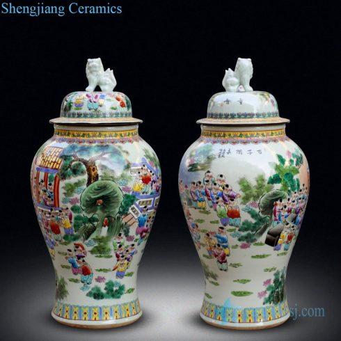 traditioanl large twin potiche jar