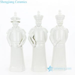 Three qing dynasty emperor figures ceramic sculpture