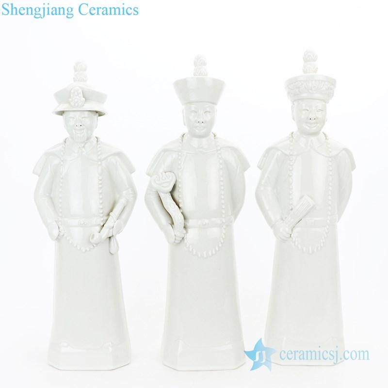 Three qing dynasty emperor figures ceramic sculpture