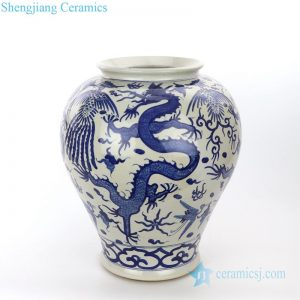 pure hand ceramic jar with dragon pattern