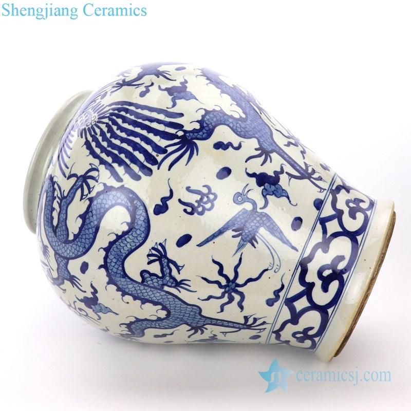 pure hand ceramic jar with dragon pattern