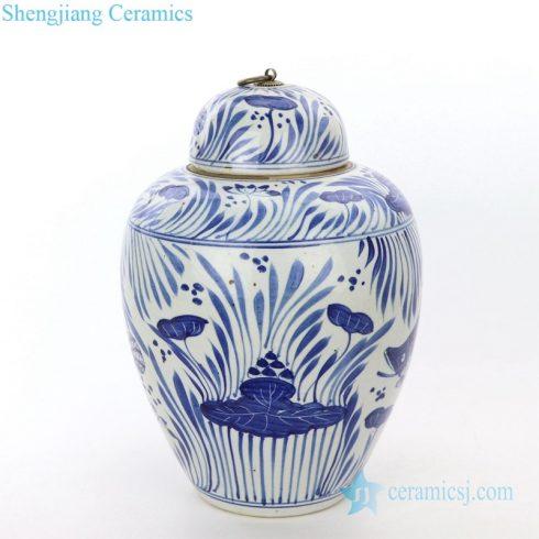 high end hand painted ceramic tea jar