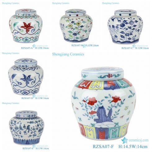 RZSA07-Series Jingdezhen handmade clashing color design ceramic jars