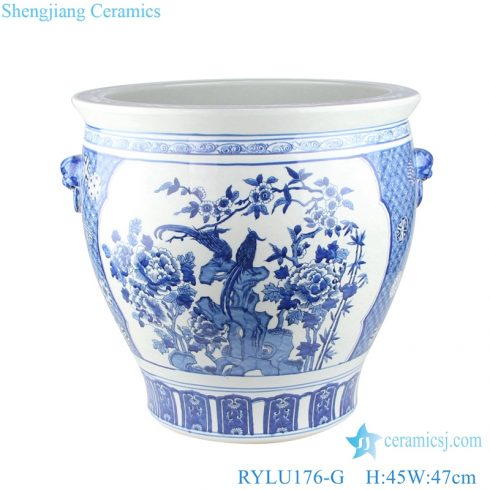 Chinese blue and white flower bird design porcelain pots with two ears RYLU176-G