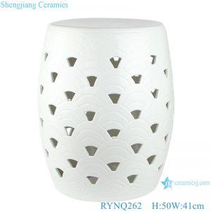 RYNQ262 hot sale handmade pure white color ceramic garden stool
