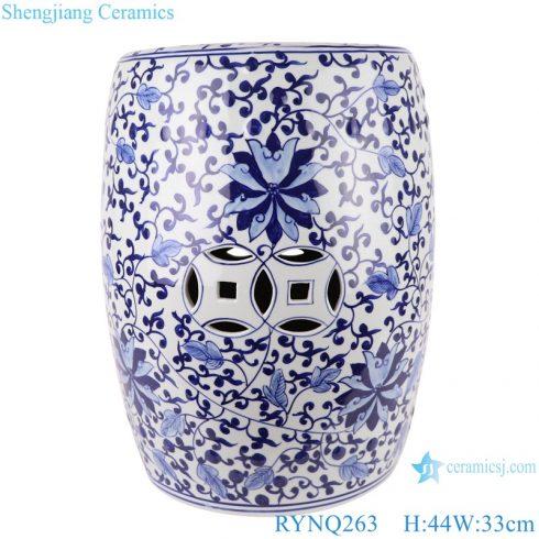 RYNQ263 Chinese blue and white ceramic stools flower design