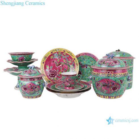 RZFA Chinese handmade powder enamel porcelain tableware sets