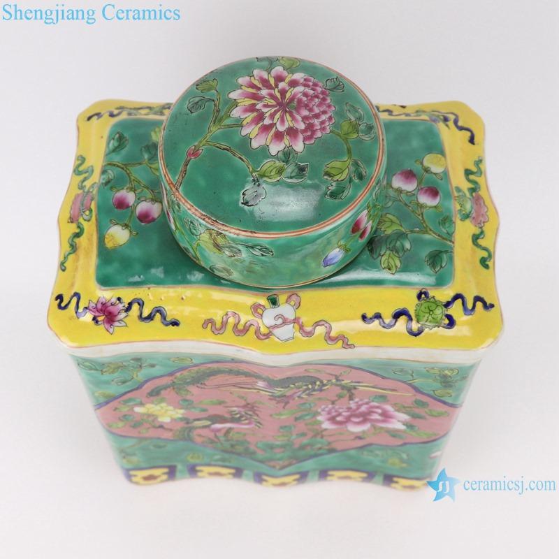 RZFA15 Jingdezhen handmade powdery ceramic square storage tank