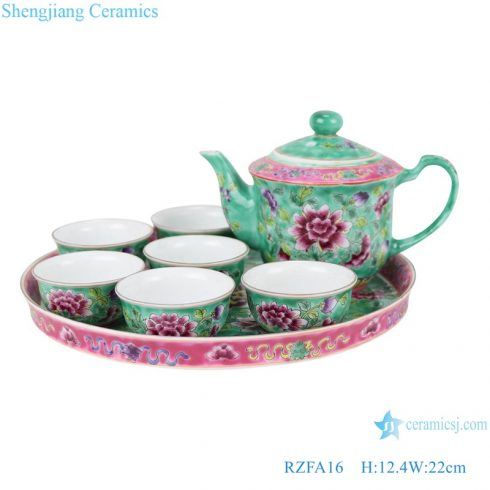 RZFA16 Chinese handmade powder enamel ceramic teapot and teacup sets