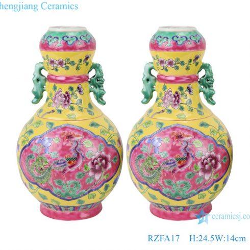 RZFA17 Chinese handmade powder enamel vase with two ears
