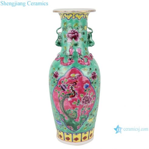 RZFA18 Chinese handmade two ears powder enamel vase green and pink color