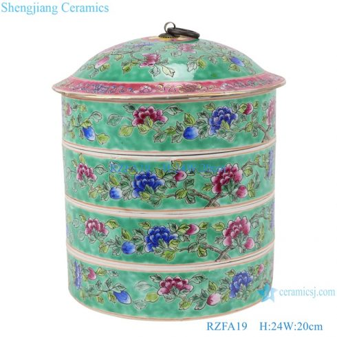 RZFA19 Chinese handmade porcelain powder enamel multi-layer rice container