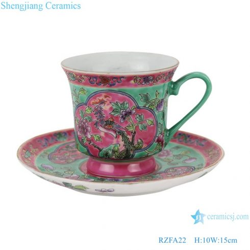 RZFA22 Chinese handmade powder enamel ceramic teapot and teacup with tray