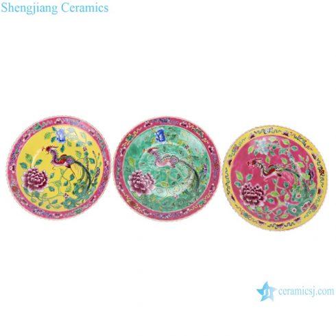 Chinese handmade powder enamel ceramic plate sets