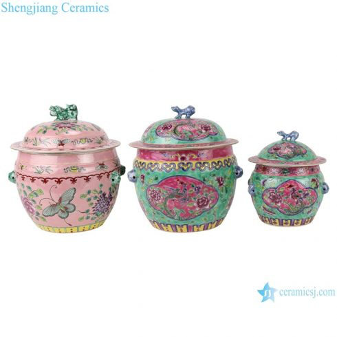 RZFA26-27 Chinese handmade powder enamel ceramic rice container sets