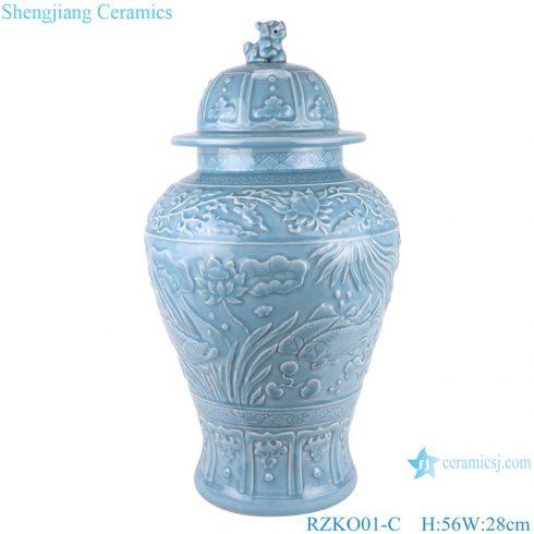 RZKO01-C Chinese light blue azure glaze carving ceramic storage jars