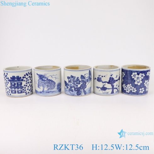 RZKT36-Series Chinese blue and white ceramic pots multi-pattern sets pen container